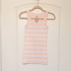 Pink and White Stripe Ribbed Tank Top